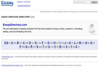 Essay Writing Directory